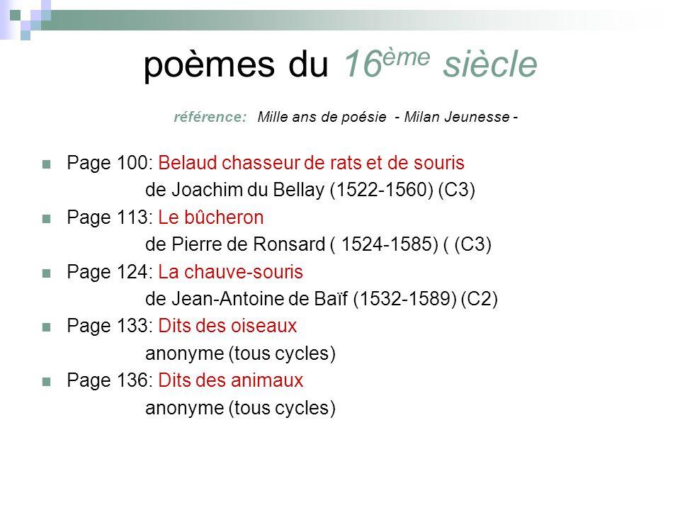 poeme 16eme siecle