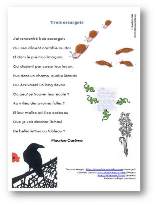 poeme 3 escargots