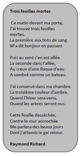poeme 3 feuilles mortes