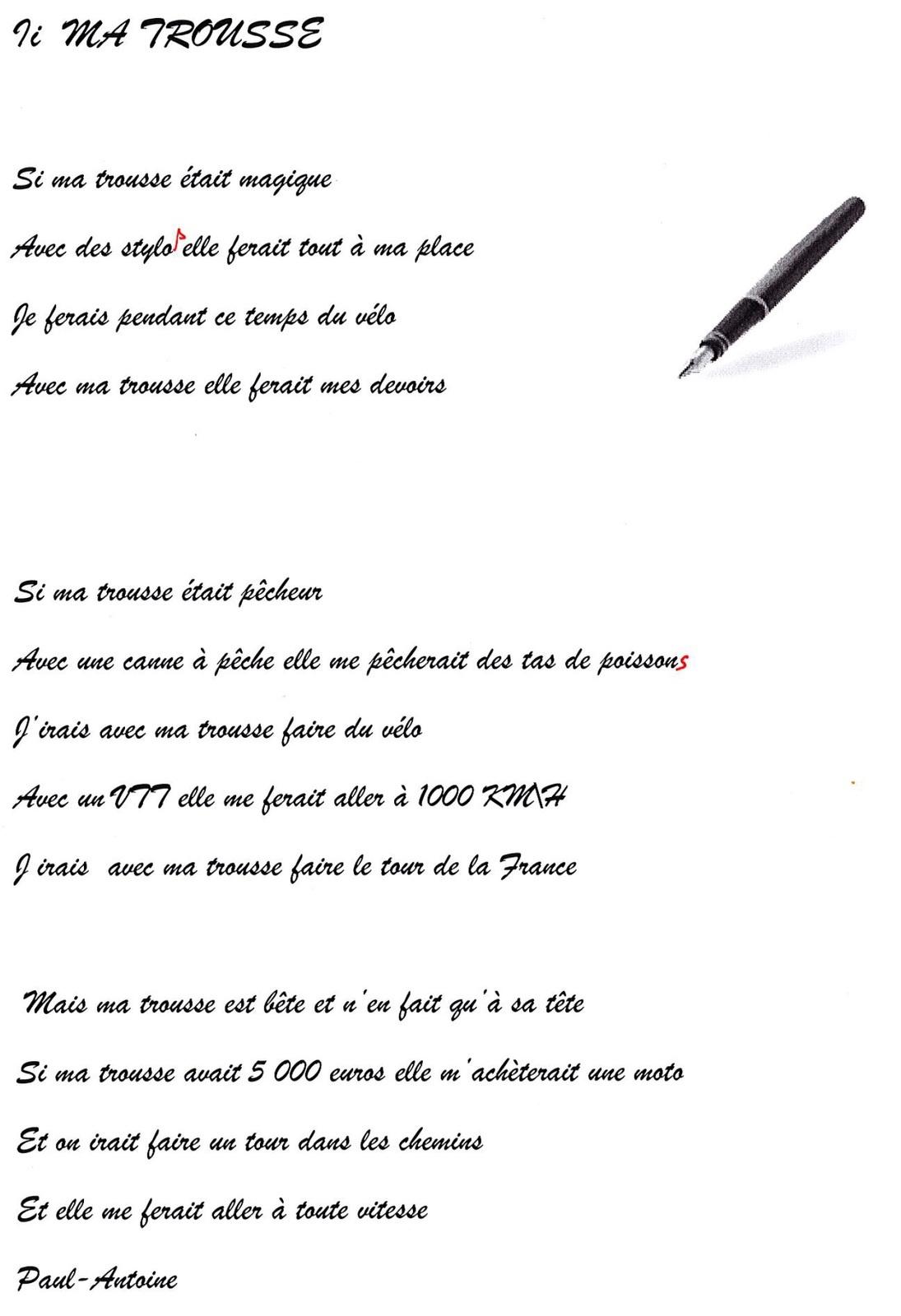 poeme 5 lignes