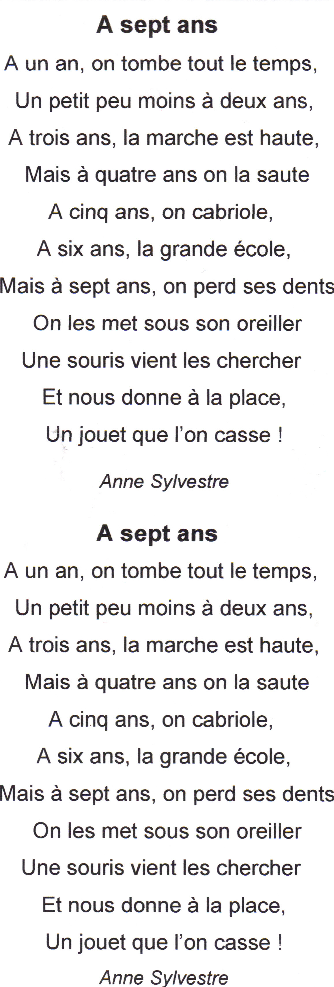 poeme 7 ans