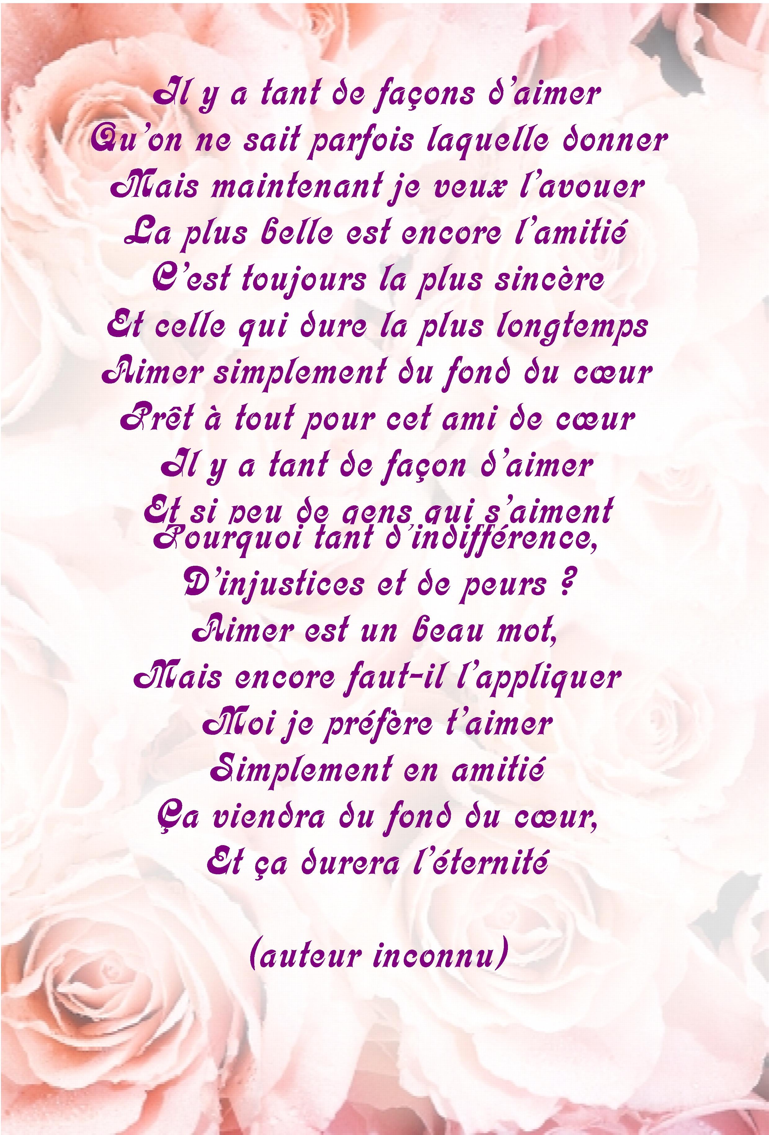 Poeme Amitie