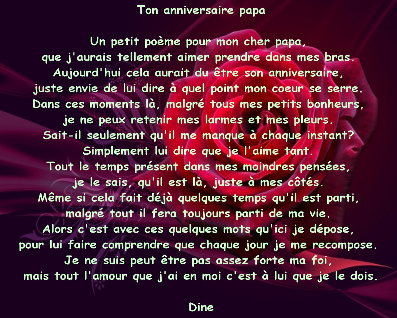 poeme anniversaire papa