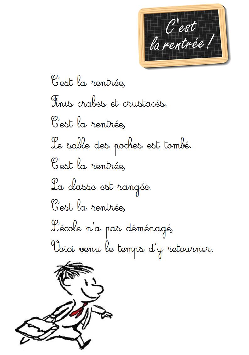 poeme c'est la rentree