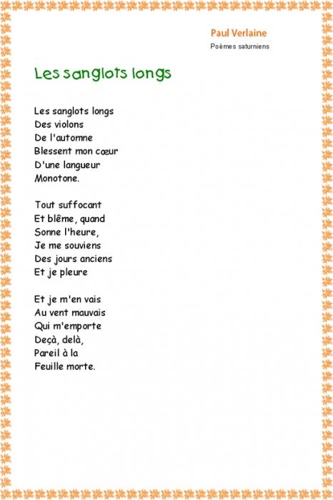 poeme de verlaine