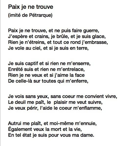 poeme du 16eme siecle