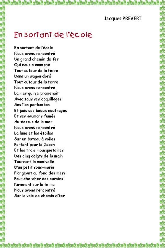 poeme ecole