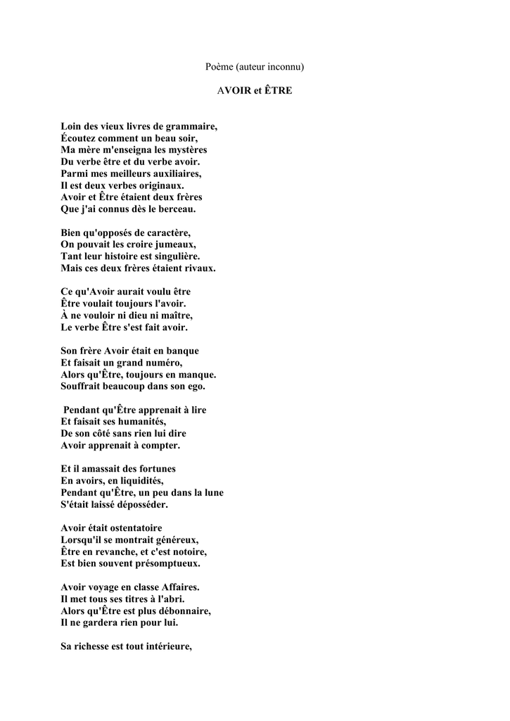poeme etre et avoir