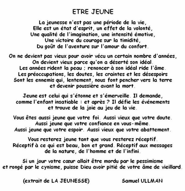 poeme etre jeune