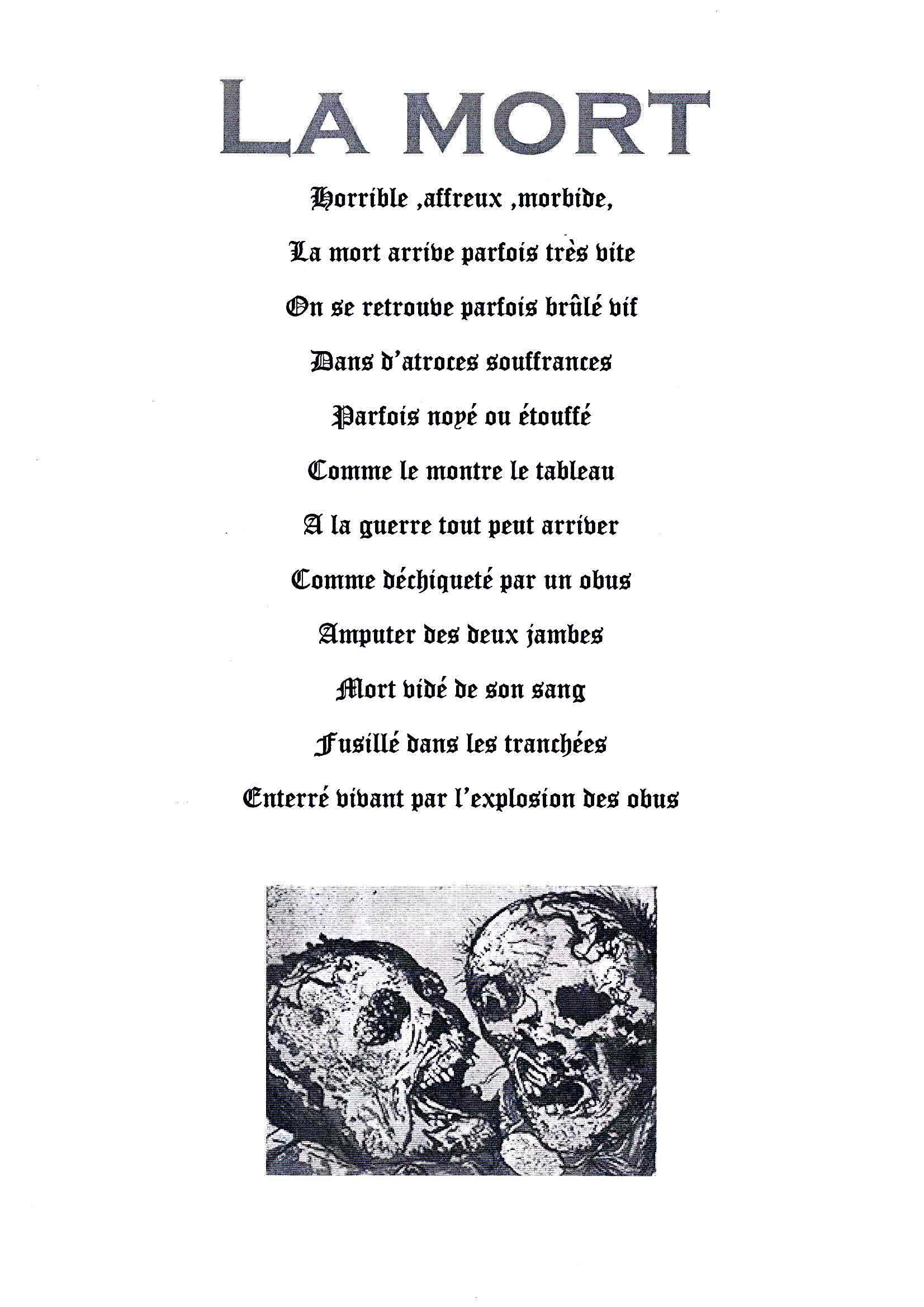 poeme evoquant la mort