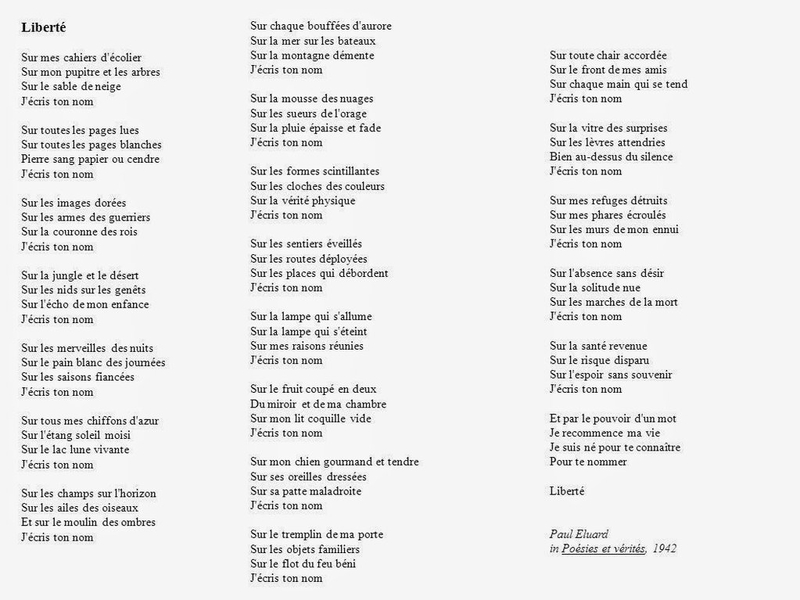 poeme j'ecris ton nom