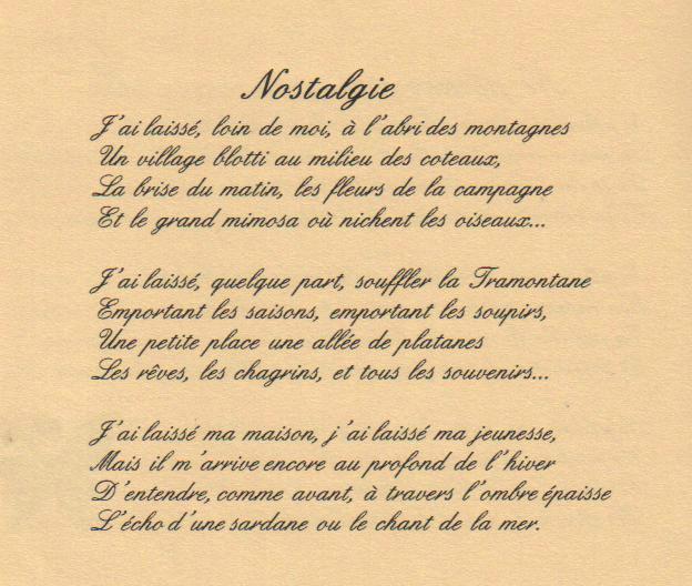 poeme nostalgie