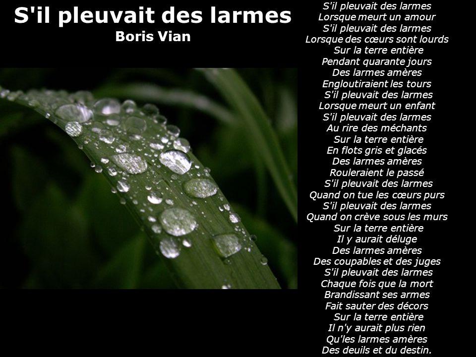 poeme s'il pleuvait des larmes