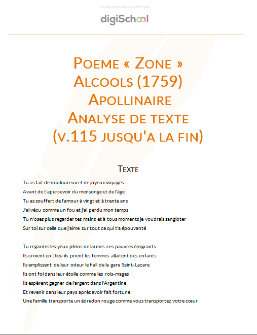 poeme zone commentaire