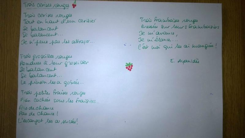 poesie 3 cerises rouges