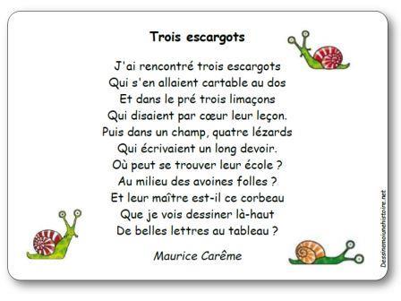 poesie 3 escargots maurice careme
