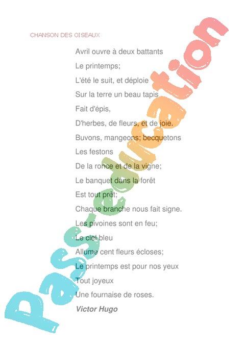 poesie 5e annee primaire
