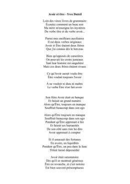 poesie avec etre et avoir