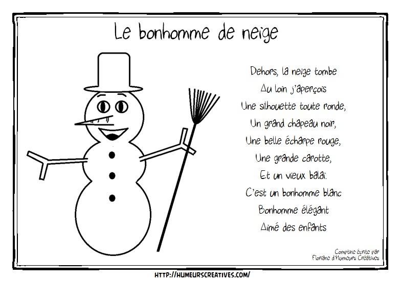 poesie bonhomme de neige
