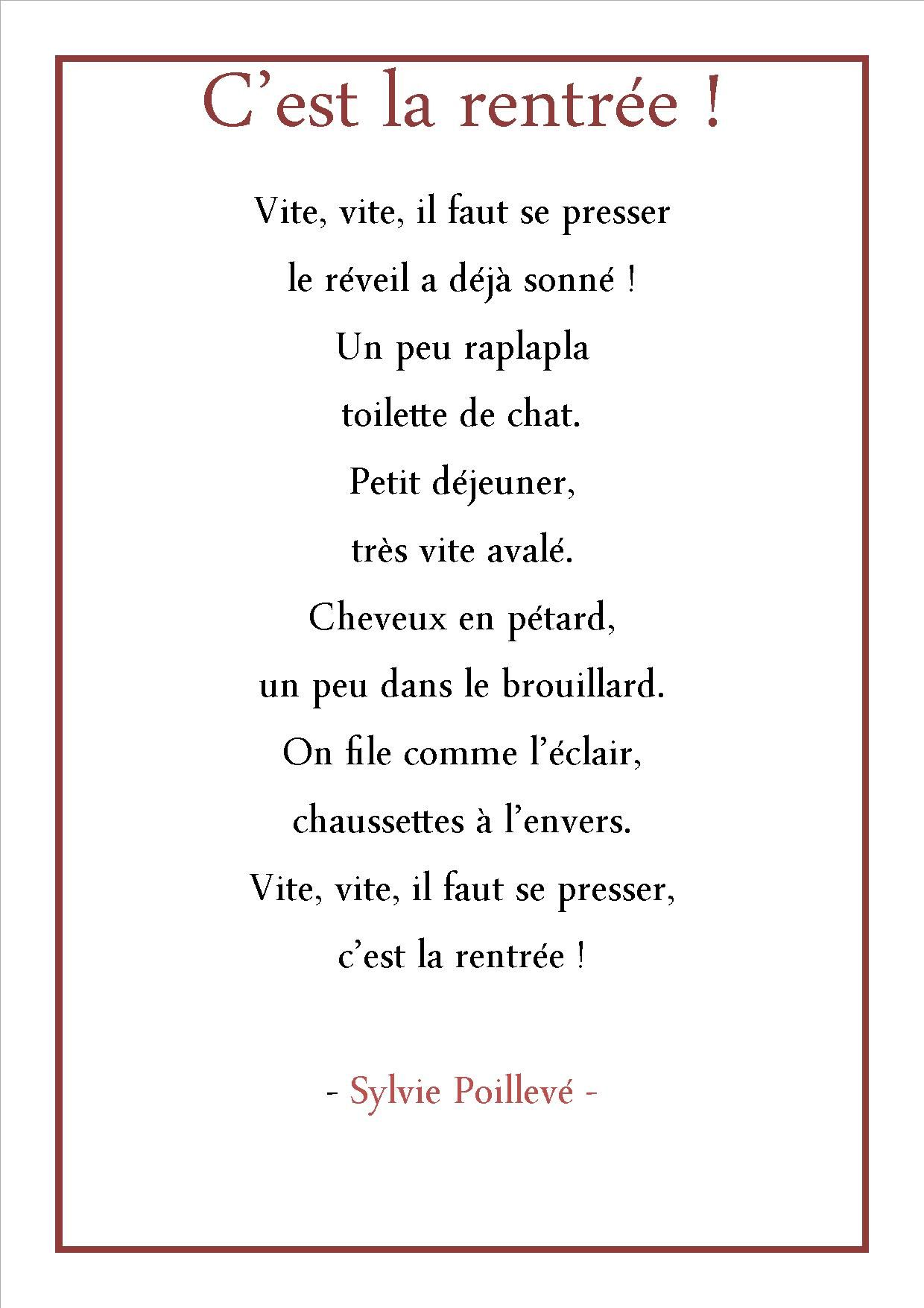poesie c'est la rentree sylvie