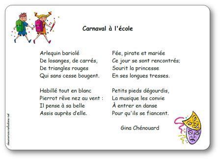 poesie carnaval a l ecole