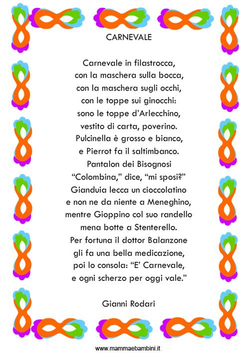 poesie e filastrocche di carnevale