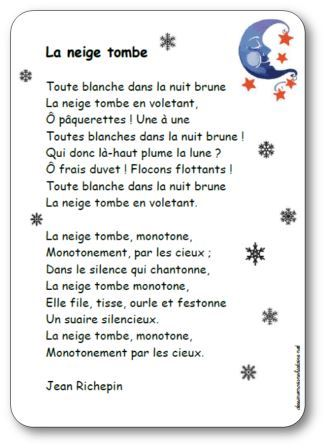 poesie et la neige tombe tombe