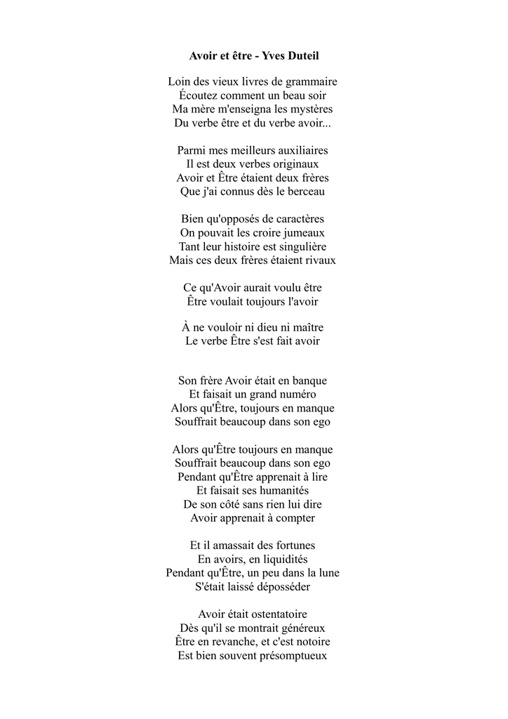 poesie etre et avoir yves duteil