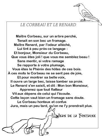 Poesie fable - Coloriage le corbeau et le renard ...