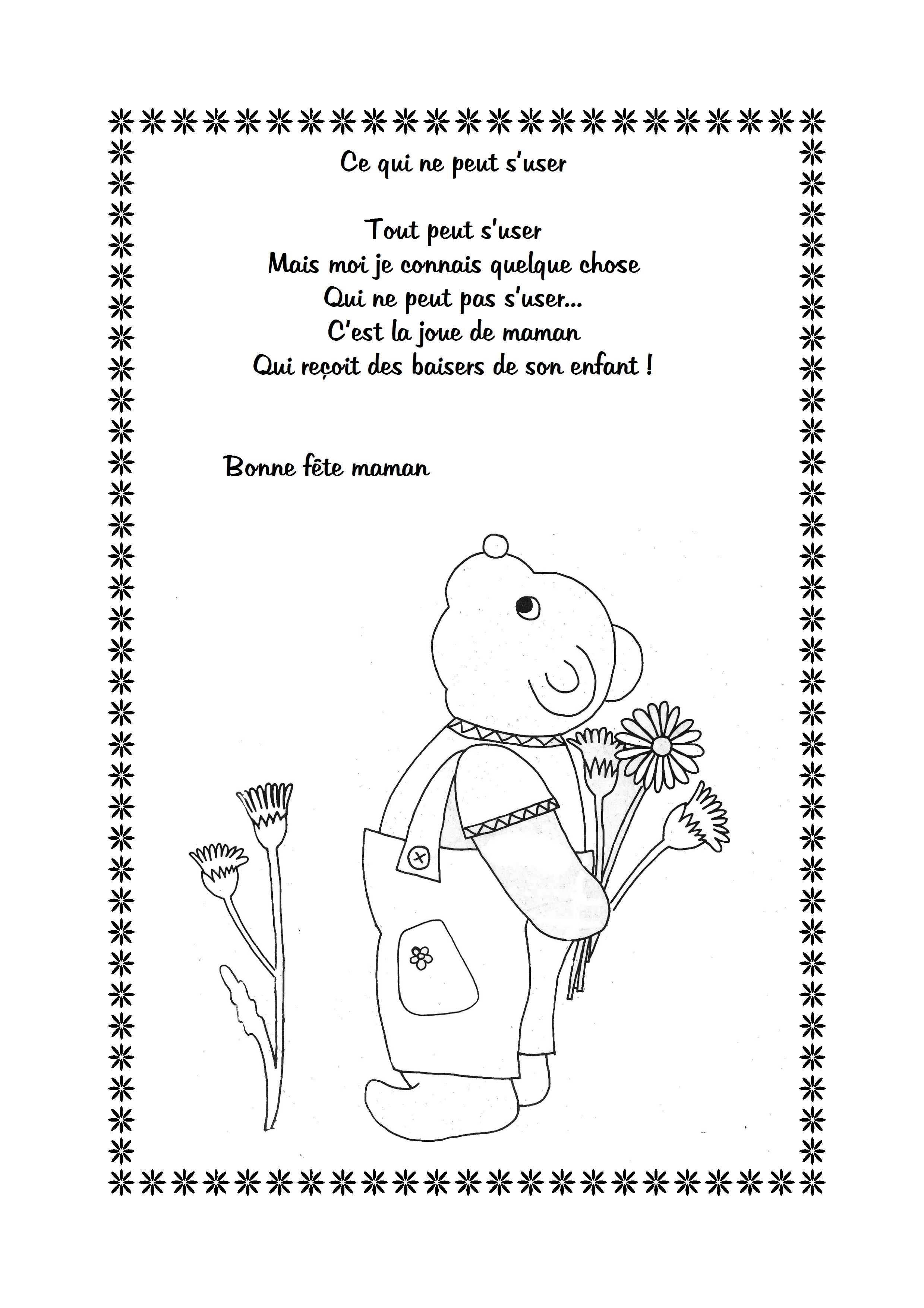Poesie fete des meres maternelle - Coloriage fleur tps ...
