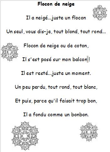 poesie flocon de neige