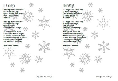 poesie il a neige