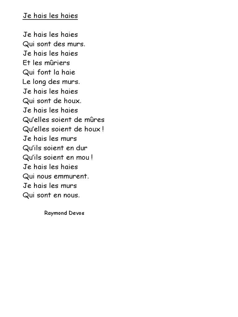 poesie je haie les haies