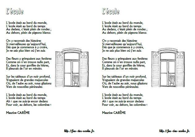 poesie l'ecolier de maurice careme