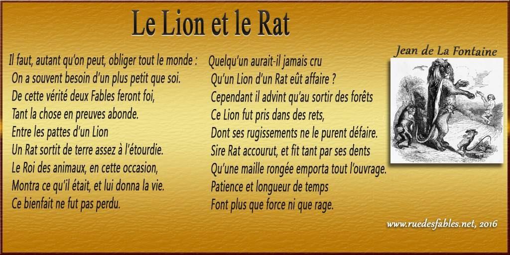 poesie le lion et le rat