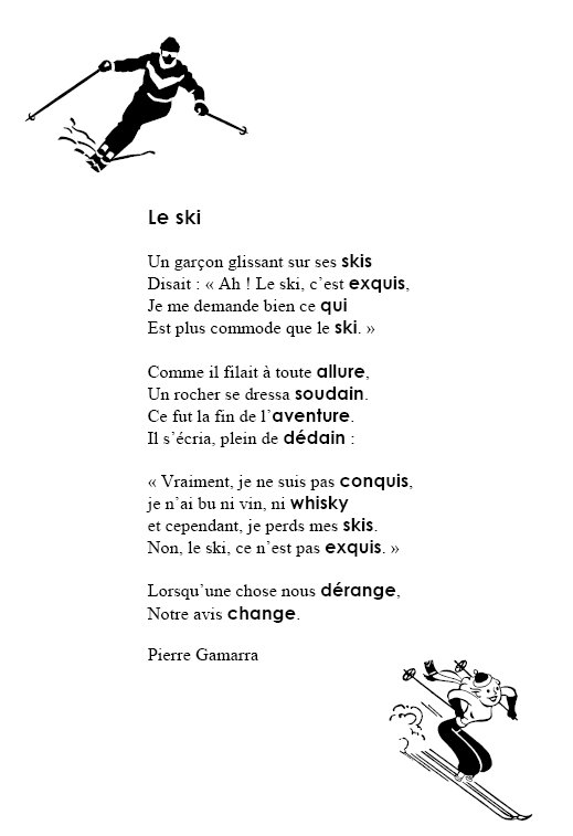 poesie le ski
