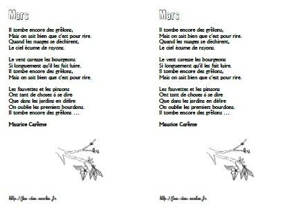 poesie maurice careme mars