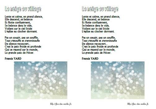 poesie neige au village