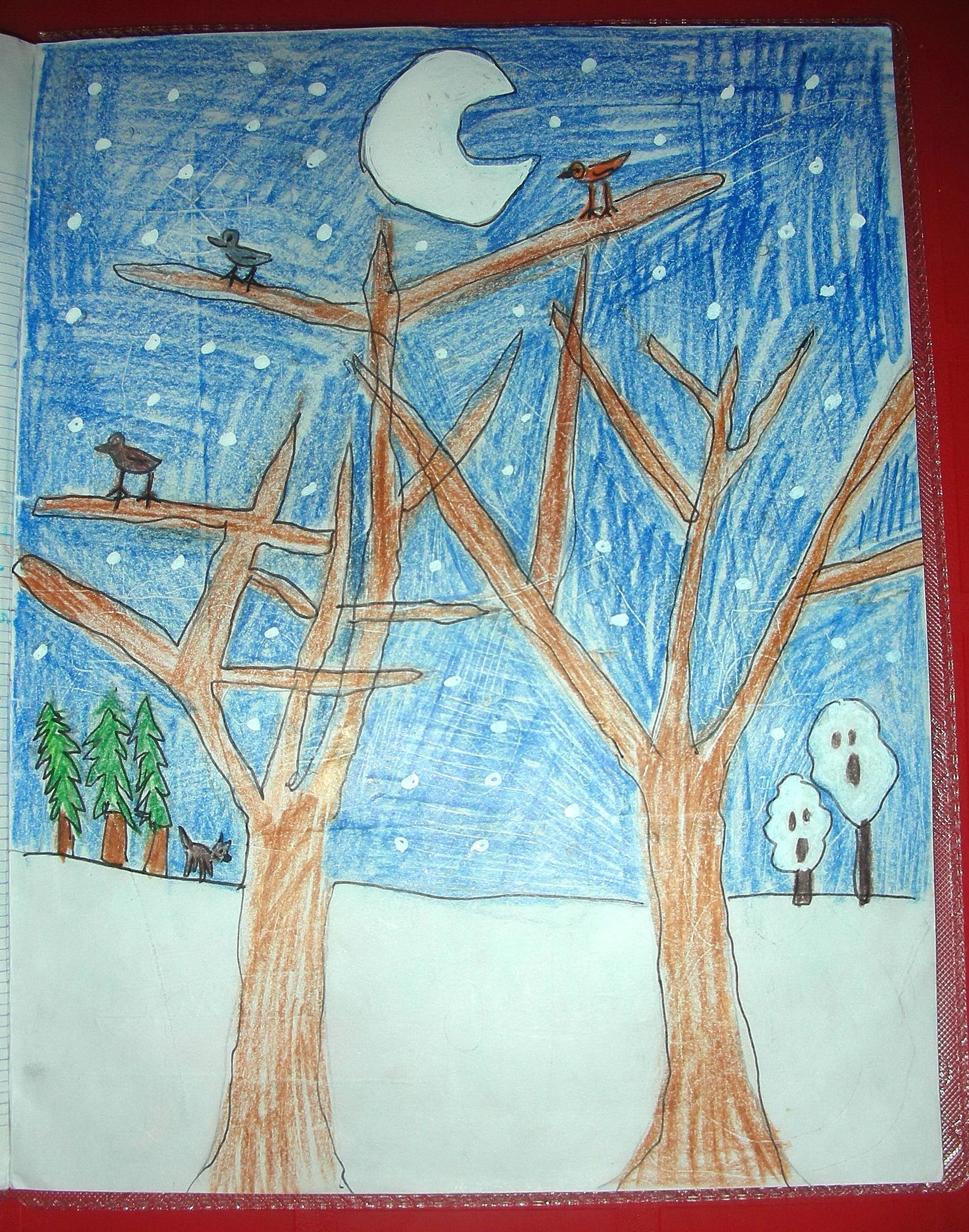 poesie nuit de neige illustration