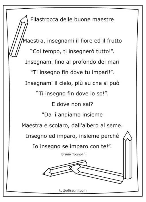 poesie o filastrocche per le maestre