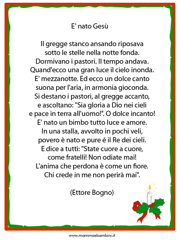 Poesie Di Natale Facili.Poesie O Filastrocche Sul Natale