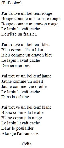 poesie un bel oeuf