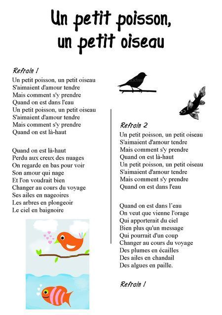 poesie un petit poisson un petit oiseau