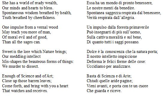 poesie wordsworth