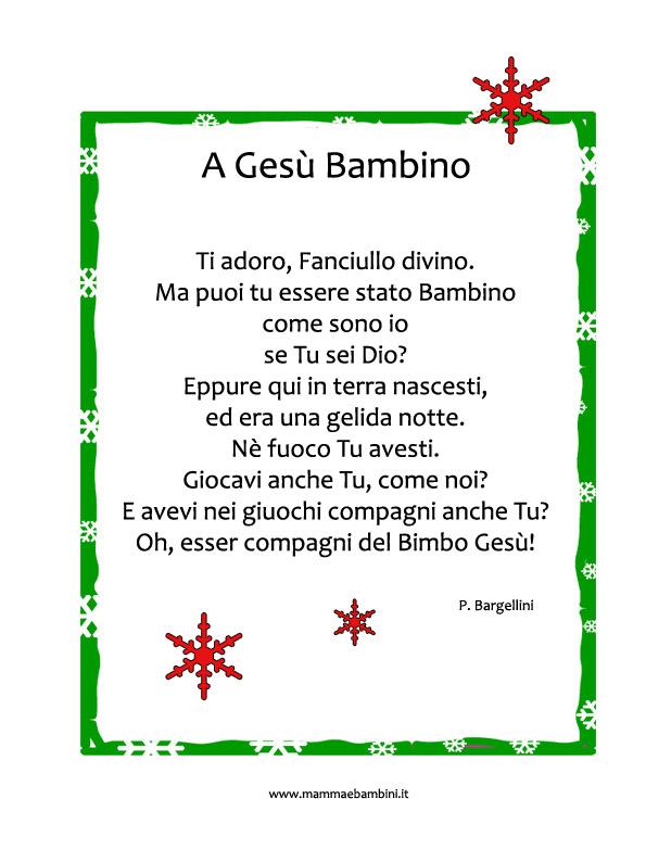 Poesie Di Natale Per Bambini Scuola Infanzia Brevi.Poesie X Natale Bambini