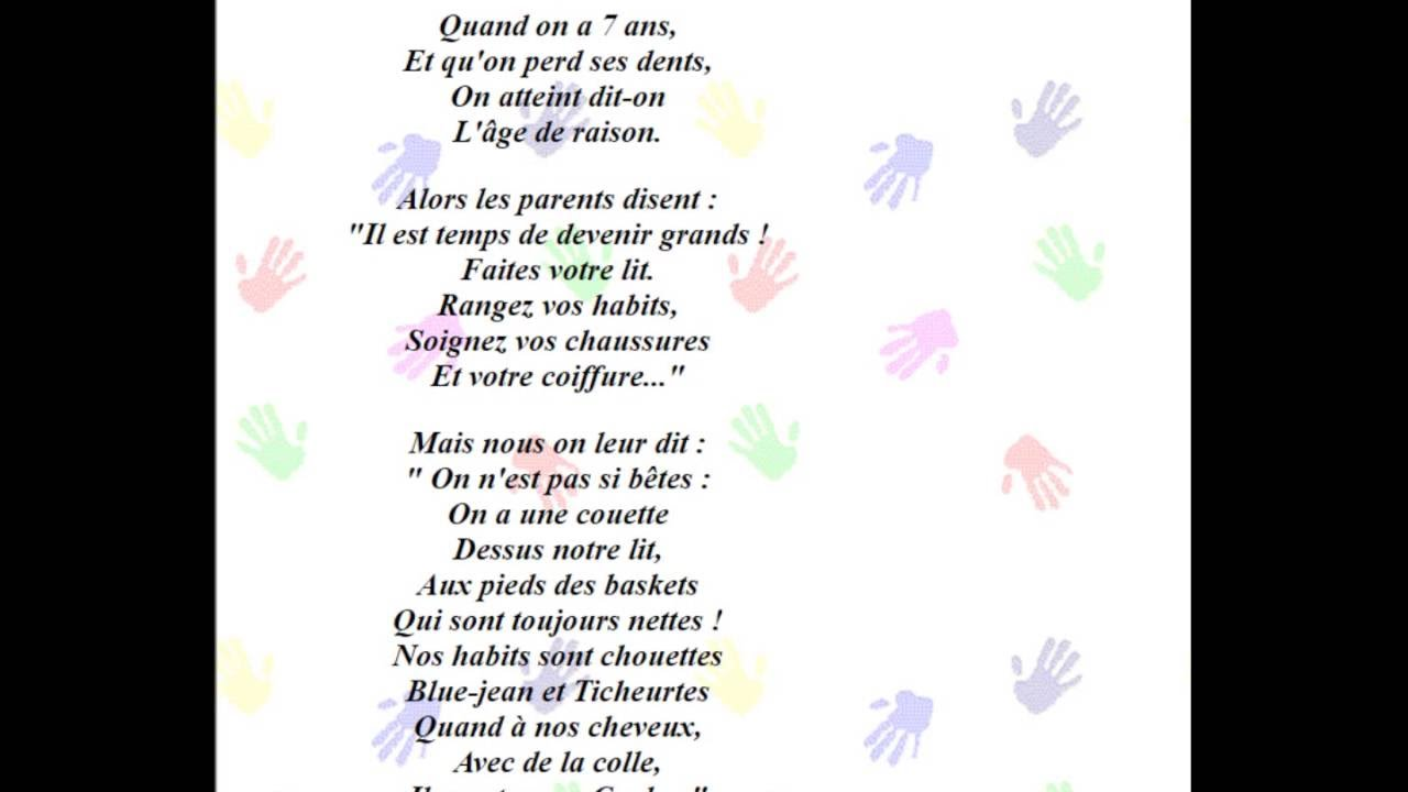 poeme 7 ans age de raison