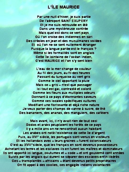 poeme ile maurice
