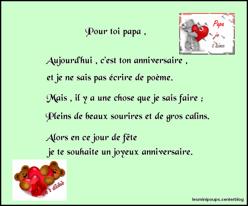 poeme joyeux anniversaire papa