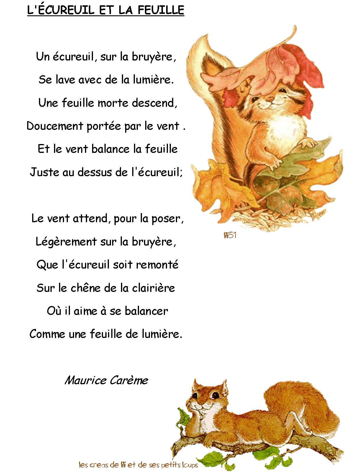 poeme l'ecureuil et la feuille