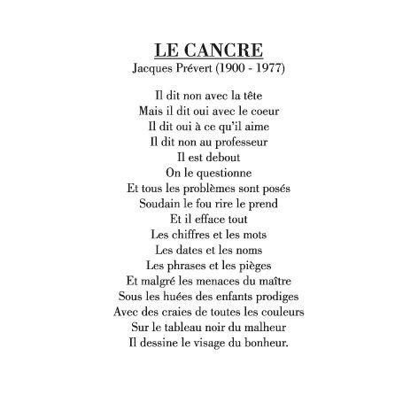 poeme le cancre